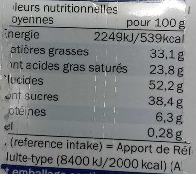 Carré Lait-Noisette - Valori nutrizionali - fr