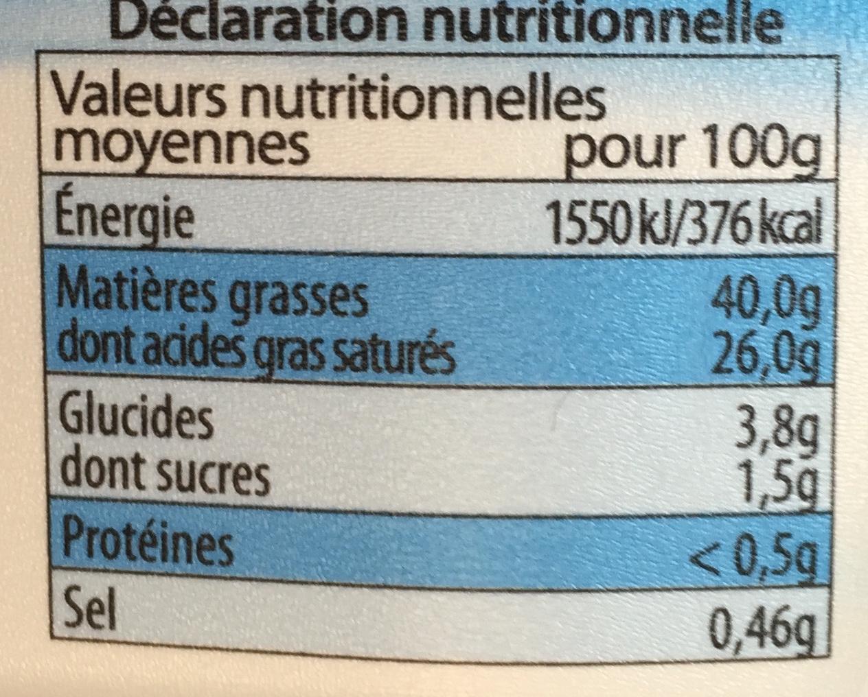 Beurre Tendre & Léger 40% MG doux - Informations nutritionnelles - fr