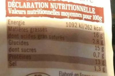 Frites de poulet offre - Informations nutritionnelles