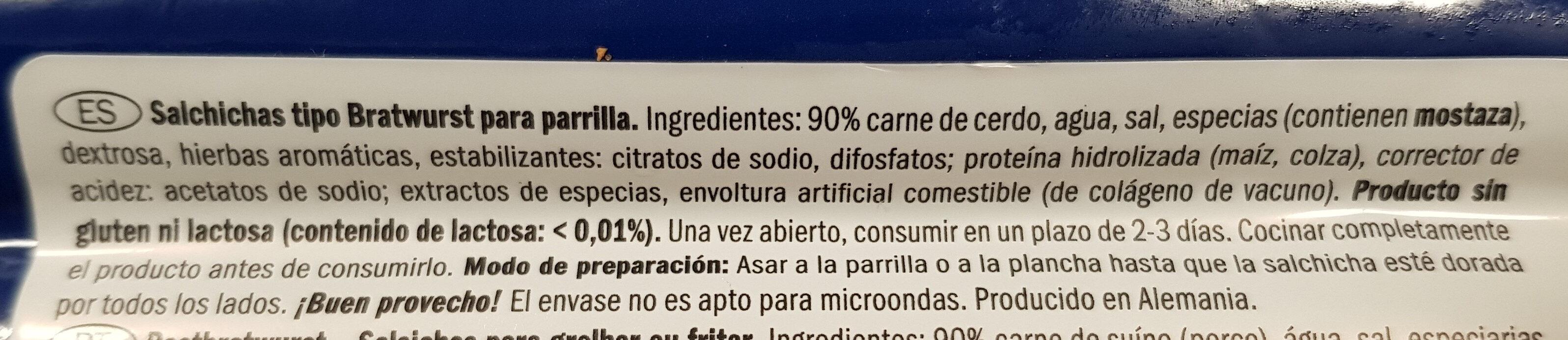Salchichas tipo Bratwurst - Ingredients - es