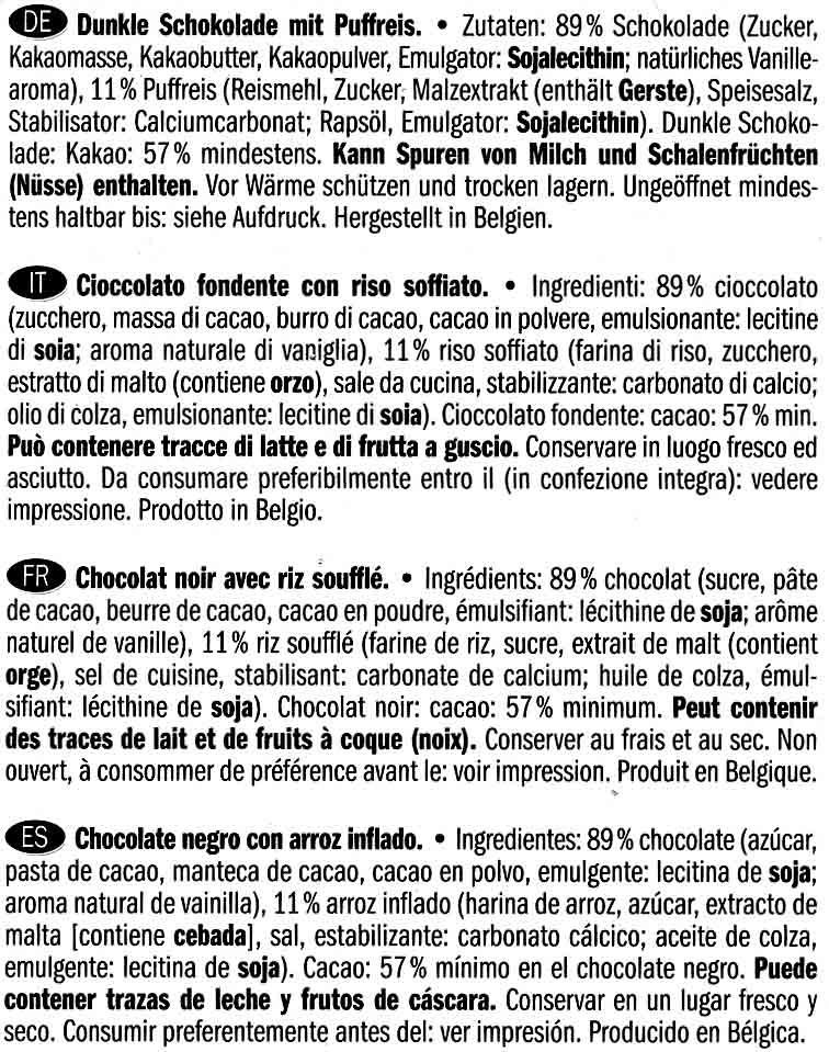 Choco Chips Crispy Dark - Ingredientes