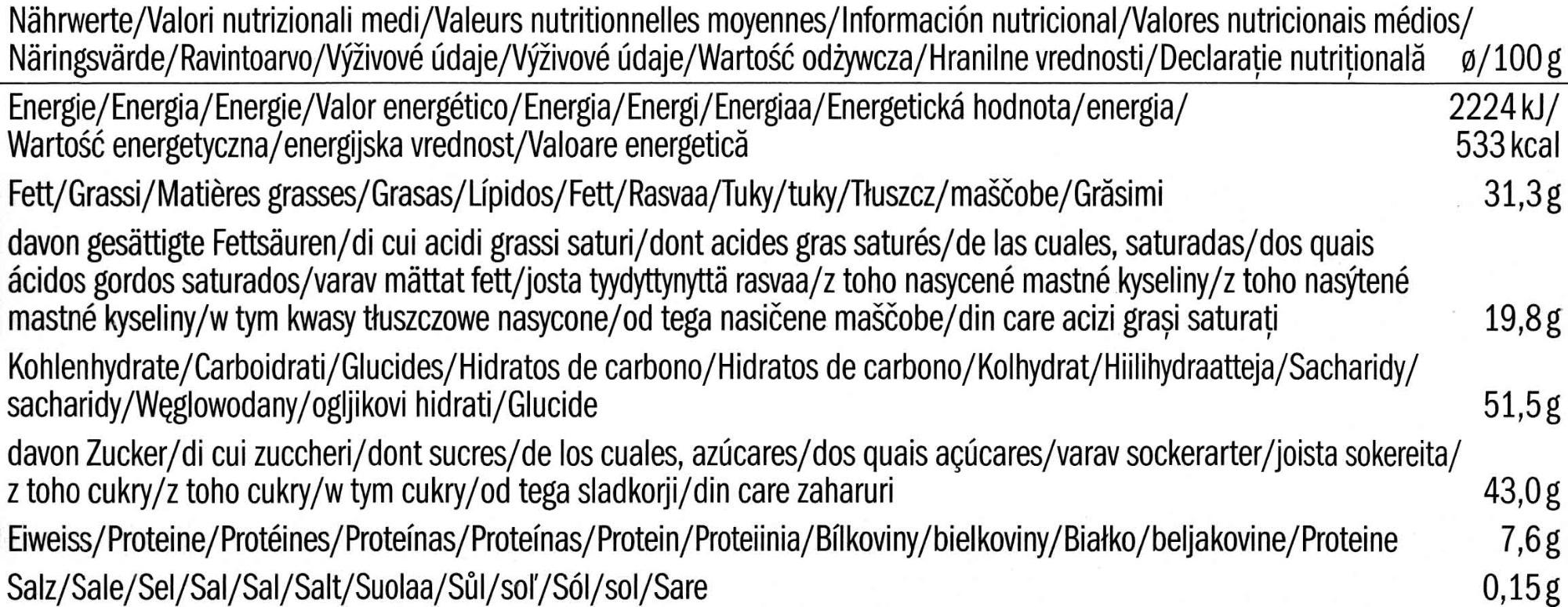 Choco Chips Crispy Dark - Información nutricional