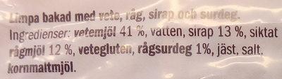 Kvarnvingen Gårdslimpa - Ingrédients - sv