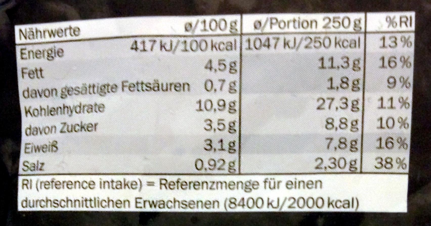 Conchiglie vin verdure e pesto rosso - Voedingswaarden - de