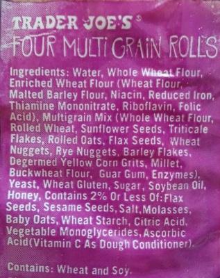 Four multi grain rolls - Ingredients - en