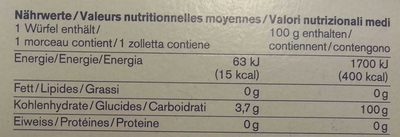 Sucre - Valori nutrizionali - fr