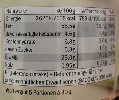 Mandeln Chili - Nutrition facts
