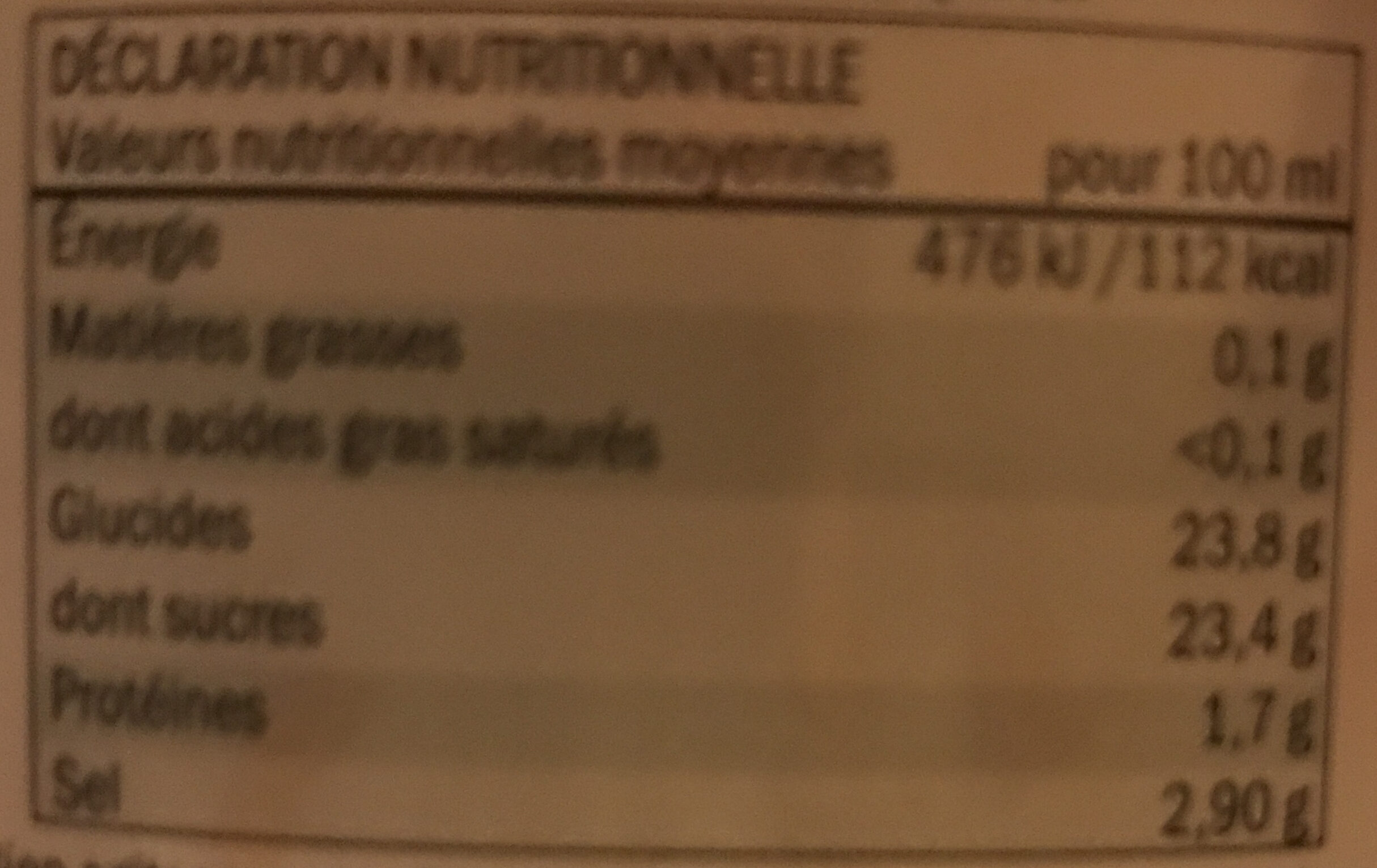 Tomatenketchup - Nutrition facts - fr