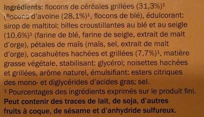 Cacahuète Barres Céréales - Ingrédients