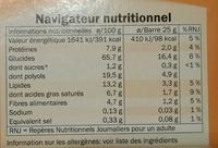 Cacahuète Barres Céréales - Informations nutritionnelles