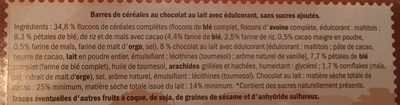 Barres de céréales - chocolat au lait - Ingredients