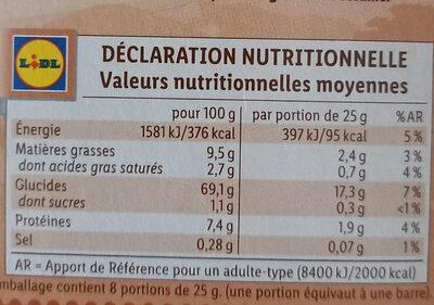 Barres de céréales Chocolat au lait - Valori nutrizionali - fr