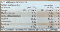 Barres de céréales - chocolat au lait - Nutrition facts