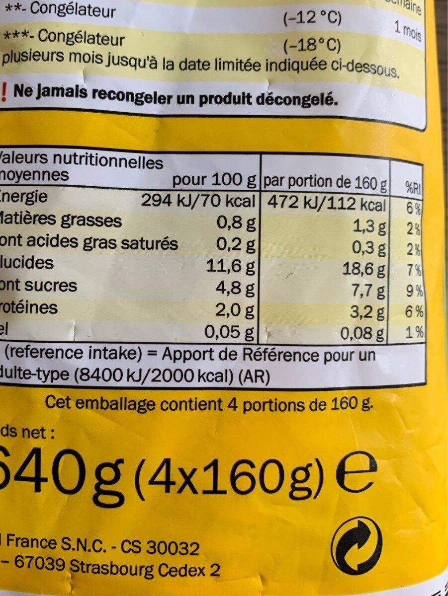 Légume vapeur - Informations nutritionnelles - fr