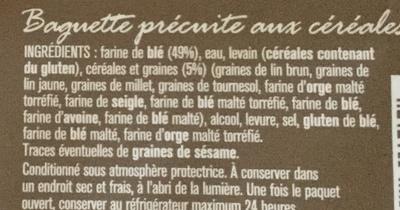 Baguette céréales à finir de cuire - Ingredients