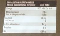 Baguette céréales à finir de cuire - Nutrition facts