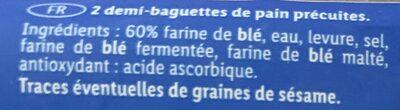 2 Demi-Baguettes - Ingredienti - fr