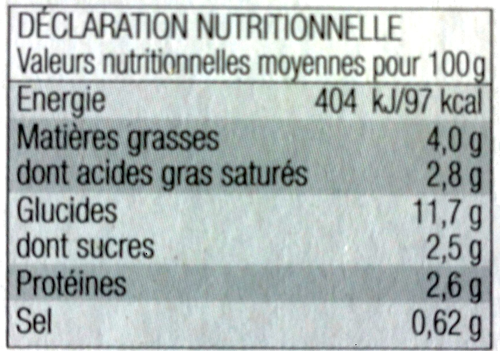 4 minis gratins Dauphinois - Nutrition facts