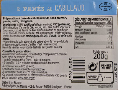 2 panes au cabillaud - Nutrition facts