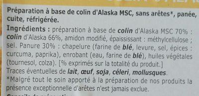 Panés au colin d'Alaska MSC - Ingredients
