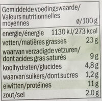 Saucisson de veau nature - Voedingswaarden - fr