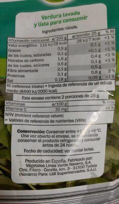 Rucula - Información nutricional - es