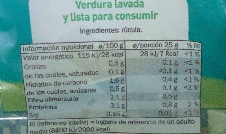 Rucula - Informació nutricional - es