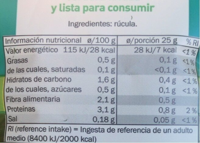 Rucula - Nutrition facts - es