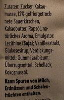 Sauerkirschen in Zartbitterschokolade - Inhaltsstoffe