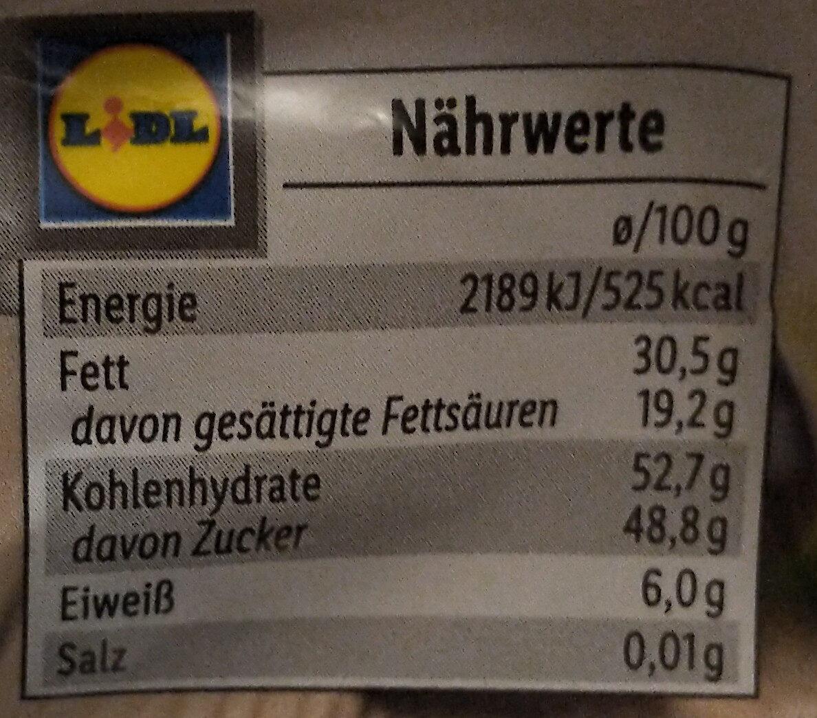 Sauerkirschen in Zartbitterschokolade - Nährwertangaben