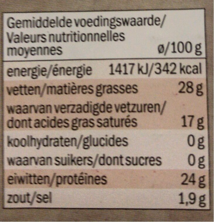 Fromage - Nutrition facts - fr