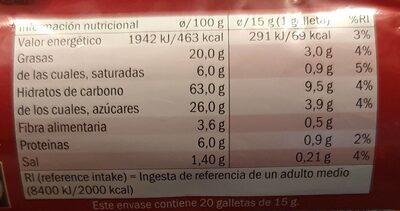 Galletas digestive con chocolate con leche - Información nutricional - es