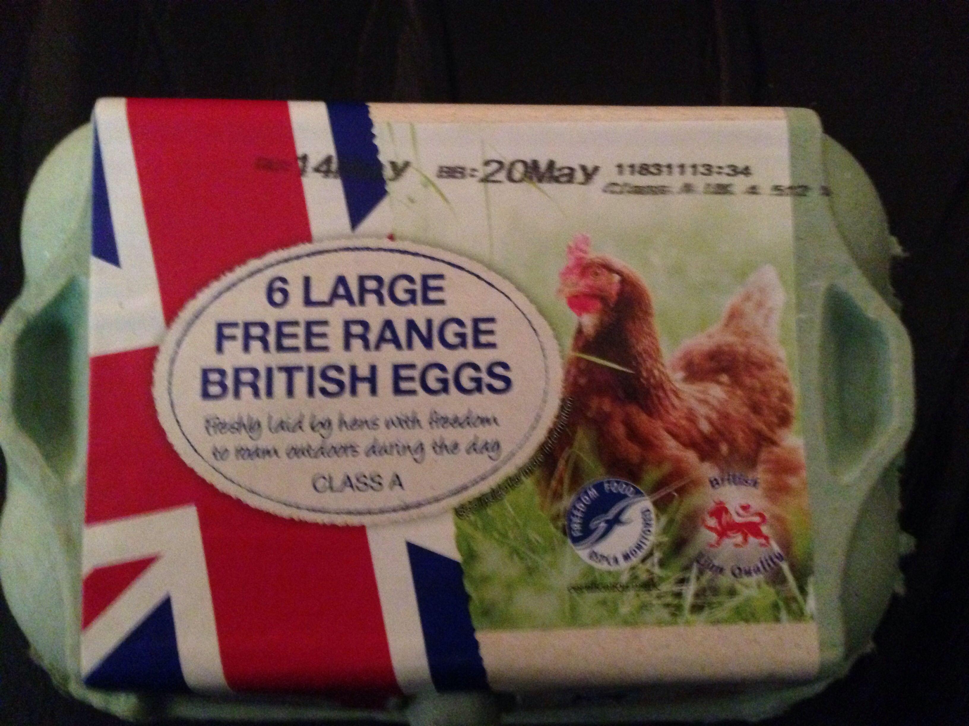 6 larges free range British eggs - Product