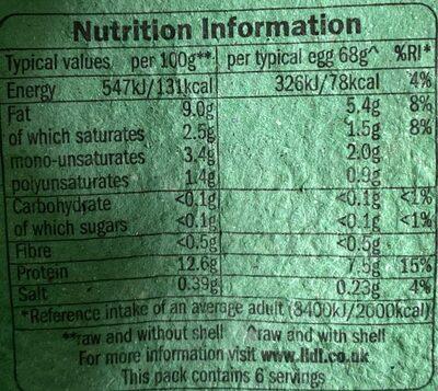 6 larges free range British eggs - Nutrition facts - en