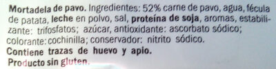 Mortadela pavo Realvalle - Ingredients