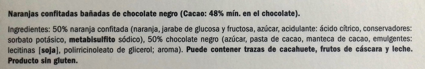 Naranjas confitadas bañadas de chocolate negro - Ingrediënten