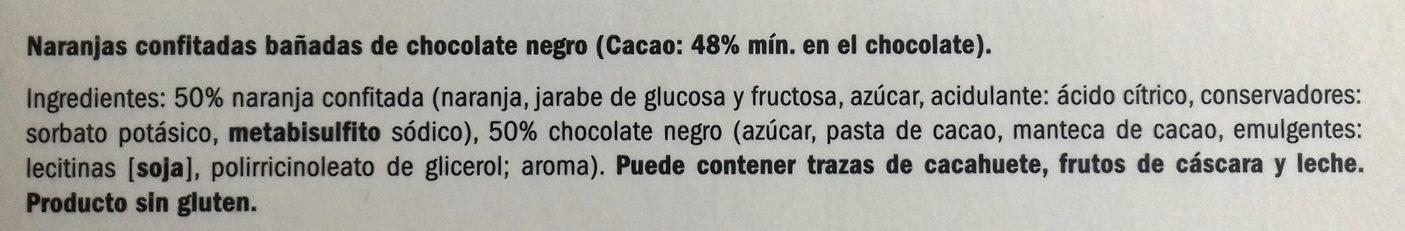 Naranjas confitadas bañadas de chocolate negro - Ingredients