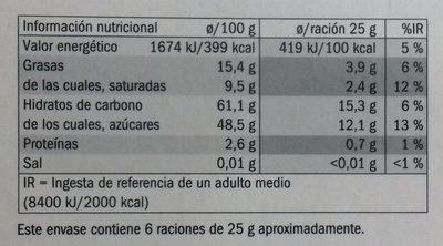 Naranjas confitadas bañadas de chocolate negro - Información nutricional - es
