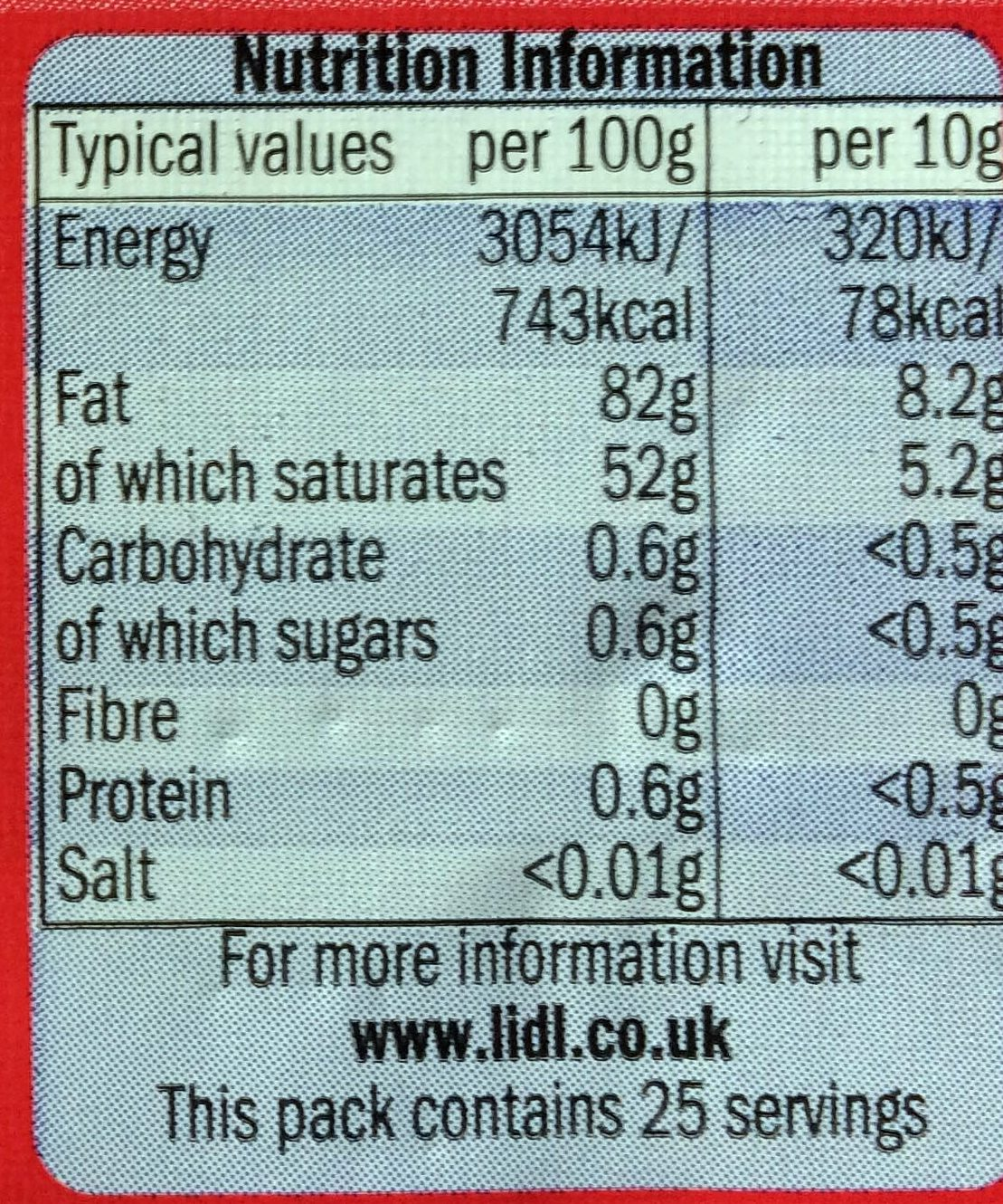 British butter - unsalted - Nutrition facts