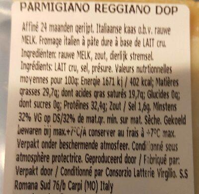 PARMIGIANO REGGIANO DOP - Nutrition facts - fr