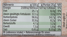 Bio Hafer Cookies - Informations nutritionnelles