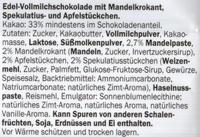 Winter-Zauber Edelvollmilch - Mandel-Spekulatius-Apfel - Ingredients