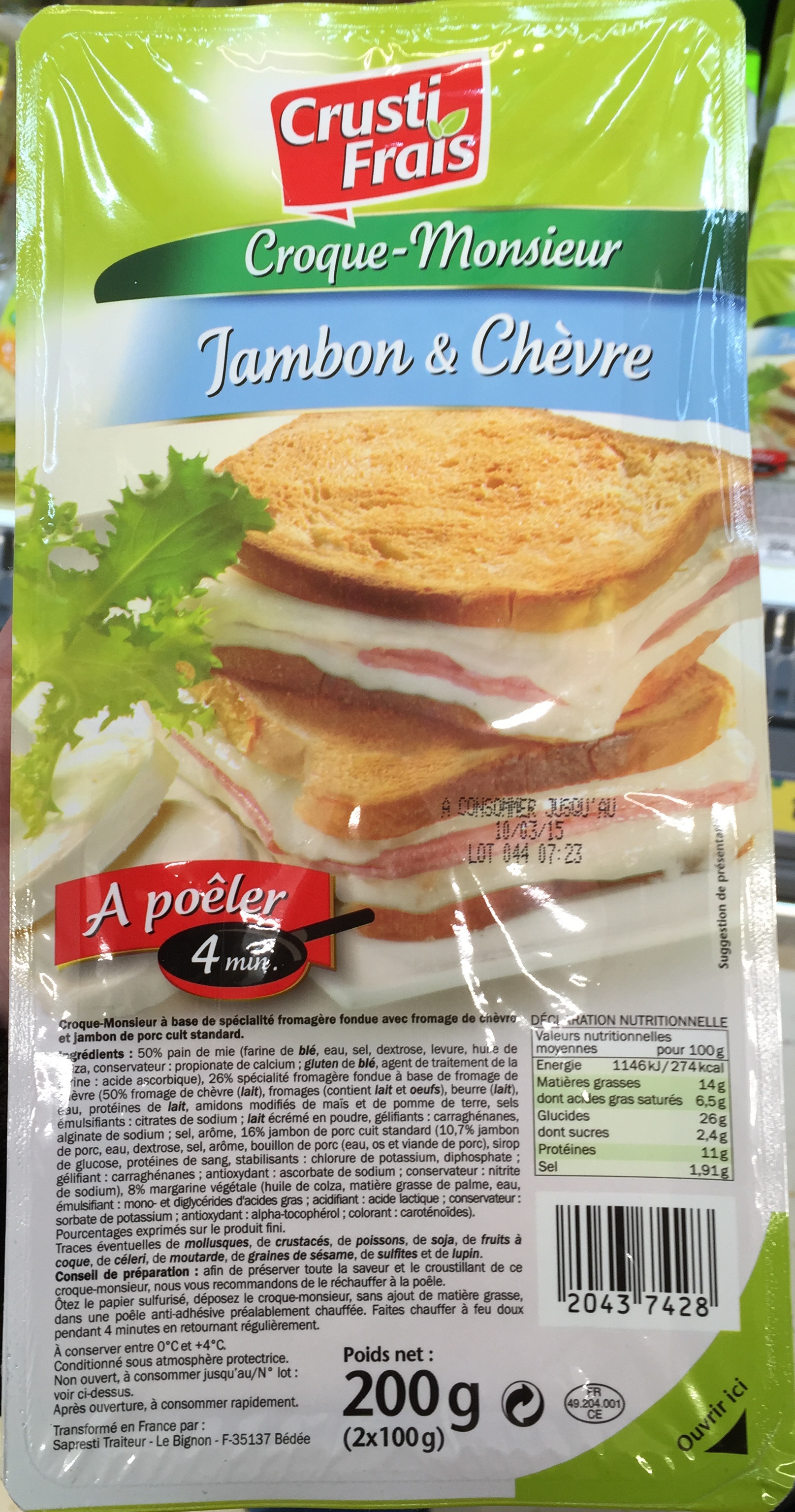 Croque-Monsieur Jambon & Chèvre - Produit - fr
