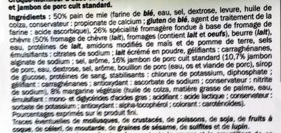 Croque-Monsieur Jambon & Chèvre - Ingrédients - fr