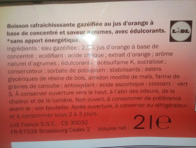 Agrumes zéro - Ingrédients - fr