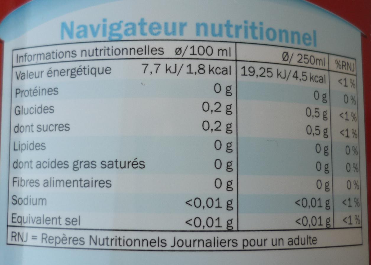 Agrumes zéro - Informations nutritionnelles - fr
