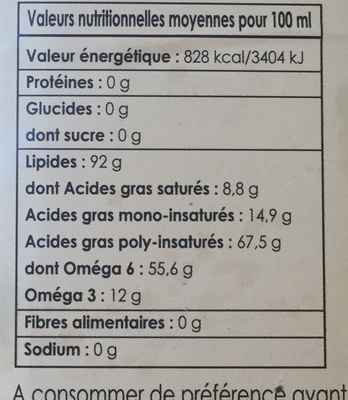 Huile de noix - Nutrition facts - fr
