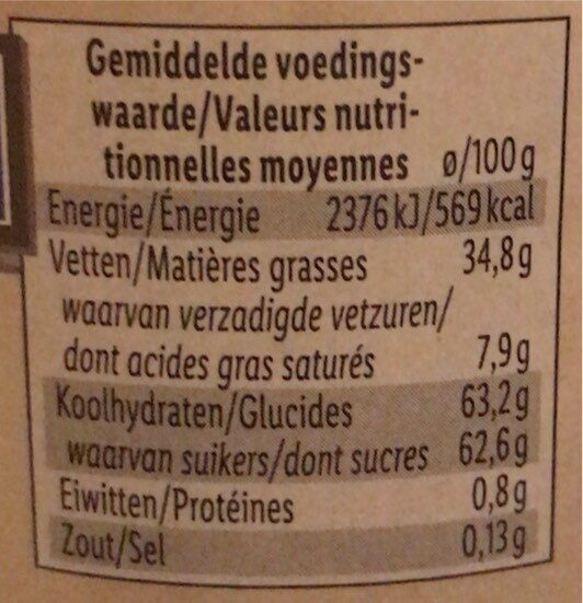 Pâte à tartiner caramel - Valori nutrizionali - fr