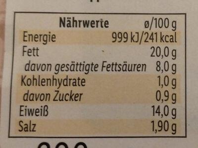 Geflügel-Mortadella - Nährwertangaben - de