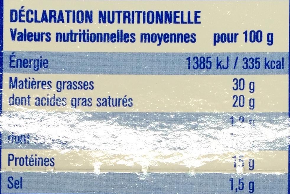 Le petit Doucrémeux (30% MG) - Nutrition facts - fr
